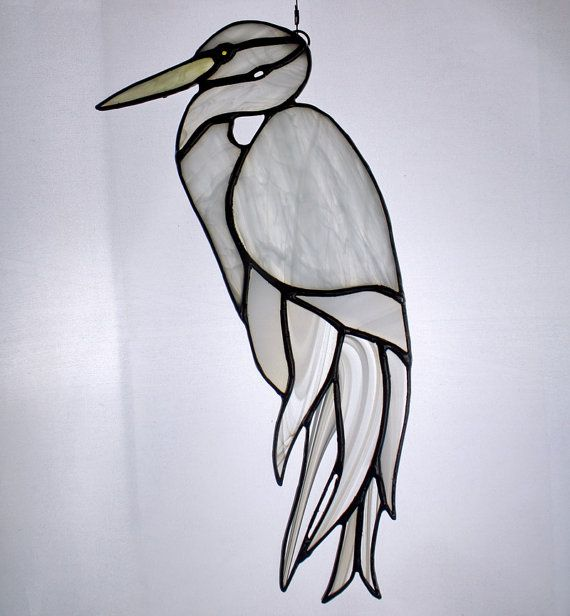 White Egret Stained Glass Bird Large Suncatcher by BerlinGlass
