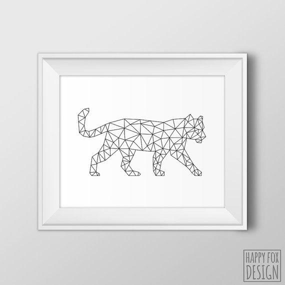 Geometric Tiger Art Origami tiger print Digital by HappyFoxDesign