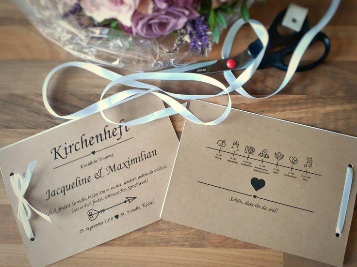 Kirchenhefte Vintage mit Wedding-Timeline aus Kraftpapier für die Vintagehochze…