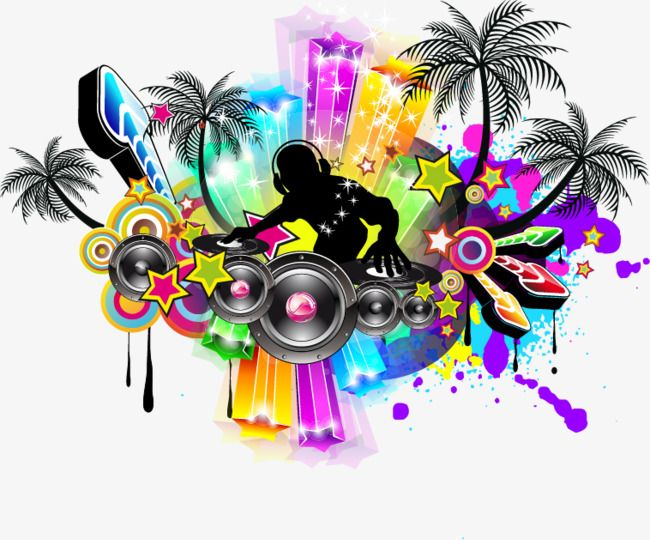 Color Moving Vector Audio Speakers Music Poster Png And Vector Music Poster Silhouette Illustration Free Clip Art