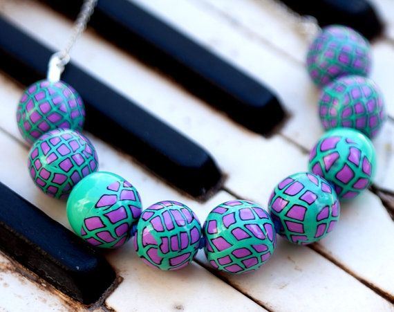 statement necklace from polymer clay blue by zhabkadesigns on Etsy