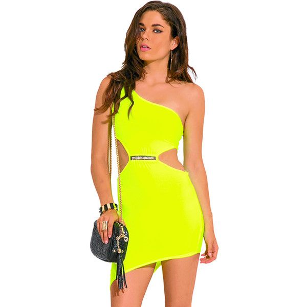 Neon yellow cut out one shoulder bejeweled asymmetrical fitted club... (£5.69) ❤ liked on Polyvore featuring dresses, yellow, asymmetrical hem dress, sexy cocktail dresses, slip dress, sexy cut out dresses and short dresses
