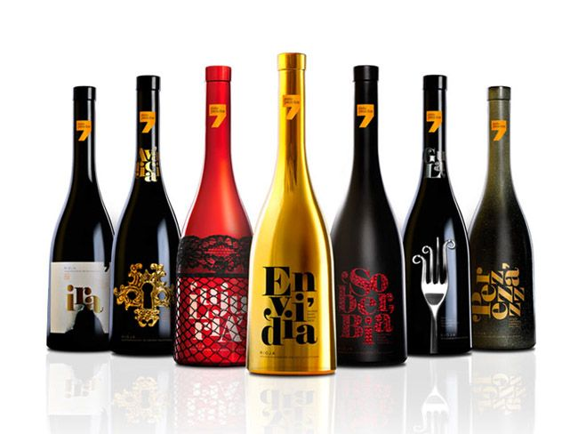 Designed by Sidecar Publicidad , Spain.   A Series of real wines inspired by the Seven Deadly Sins.  The design of the bottles reflect eac...