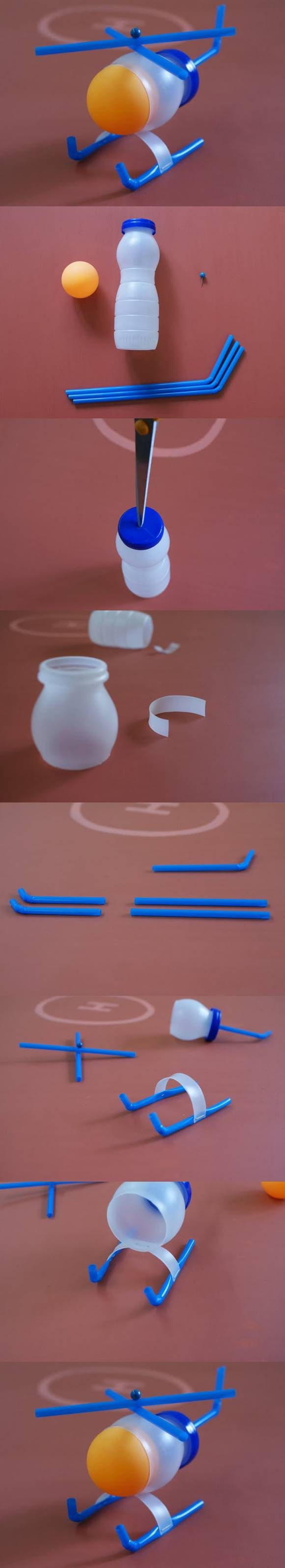 How to DIY Plastic Bottle Toy Helicopter #craft #kids #toys #recycle could put an egg in replacement of the bouncy ball