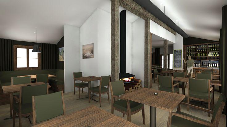 Interior presentation of proposed restaurant interior fro Bistro Gentil Wanaka New Zealand by Ed Cruikshank