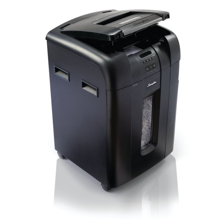 Swingline Auto Feed Paper Shredder, 500 Sheets, Super Cross-Cut, 10-20 Users, Stack-and-Shred 500X (1757577). Spend less time shredding versus a traditional paper shredder - just stack, shut and you're done; up to 500-sheet auto shredding of legal/letter size sheets; up to 10 sheets during manual feed; one sheet of paper is shredded into approx. 400 pieces/sheet. 4-digit PIN code lock protects sensitive information during shredding; Intelligent Auto+ Jam technology prevents jams; LED…