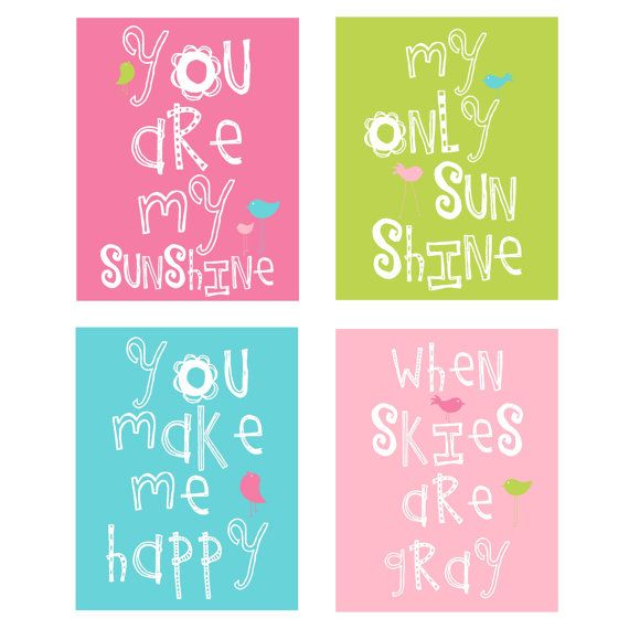 You Are My Sunshine 4 pc Art Print Set For Girls Bedroom or shared space 11x14 in hot pink, spring green,aqua and sweet pink- would change colors for boy