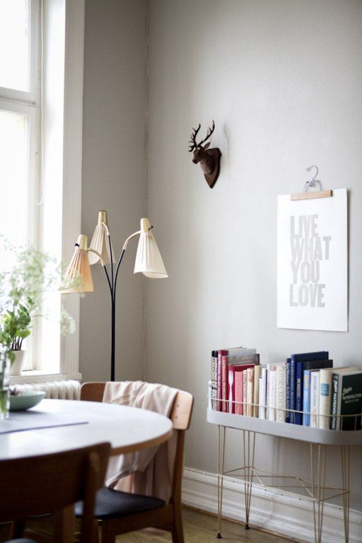 "Lina Ikse ... love this minimalist look. beautiful woodwork and paint. vintage planter used as ""book case""."