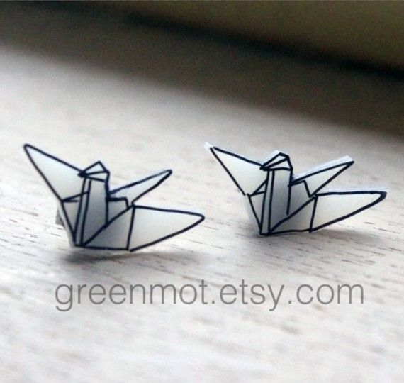 origami crane earrings made out of shrink art!!!! so amazing