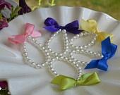 Little Girl Pearl and ribbon bracelet for flower girl gift, birthday gift, baby or girls photo prop custom made