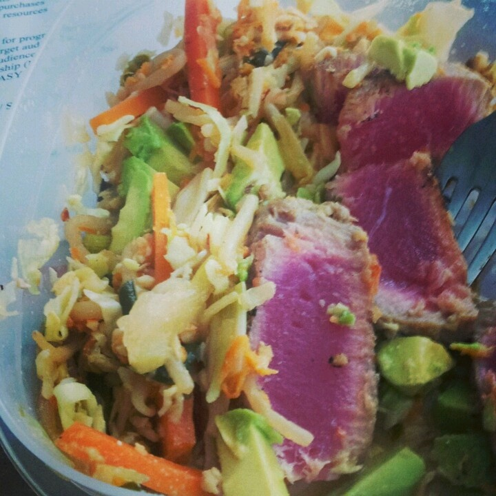 with cabbage mix 2 tuna steaks one per person Sesame oil Lime Orange ...