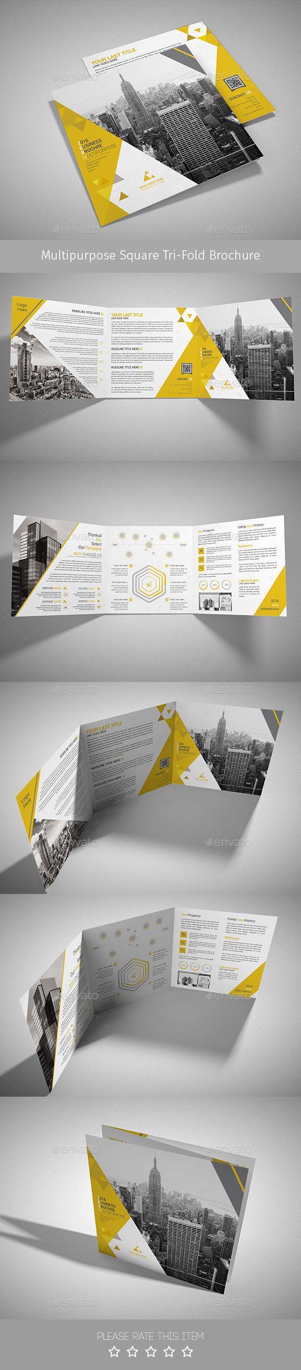 Corporate Tri fold Square Brochure Template PSD Download