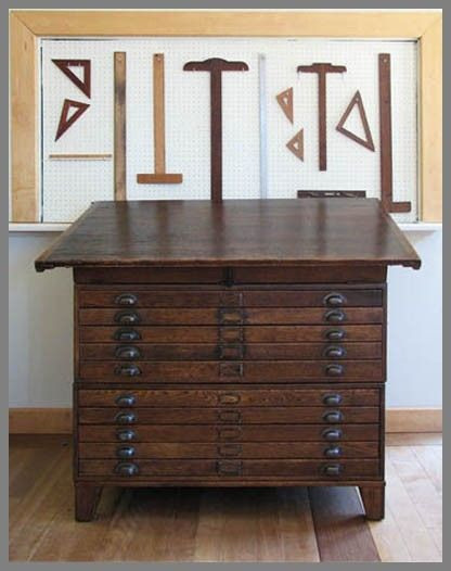 Restored Antique Map File/Drafting Table by Kate Matthews and Company..…would be amazing for scrapbook pages before putting them in an album!