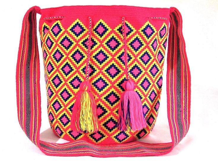 AUTHENTIC WAYUU SINGLE THREAD MOCHILA XLARGE SIZE HANDMADE BUCKET CROSS BODY BAG #Handmade #ShoulderBag