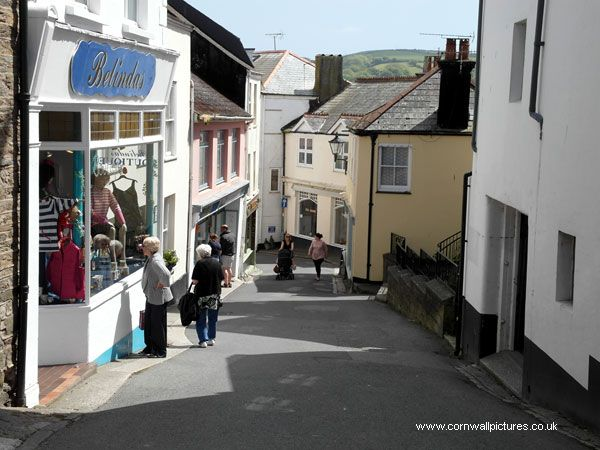 Shops in Town Centre, Fowey, Cornwall, England