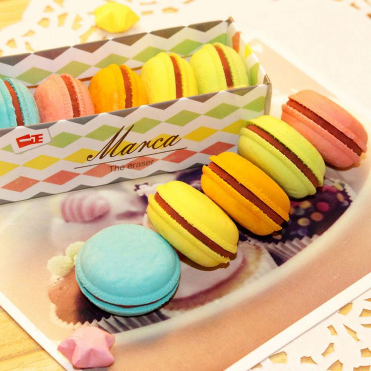 5 pcs/lot novelty macaron rubber eraser creative kawaii stationery school supplies papelaria gift for kids