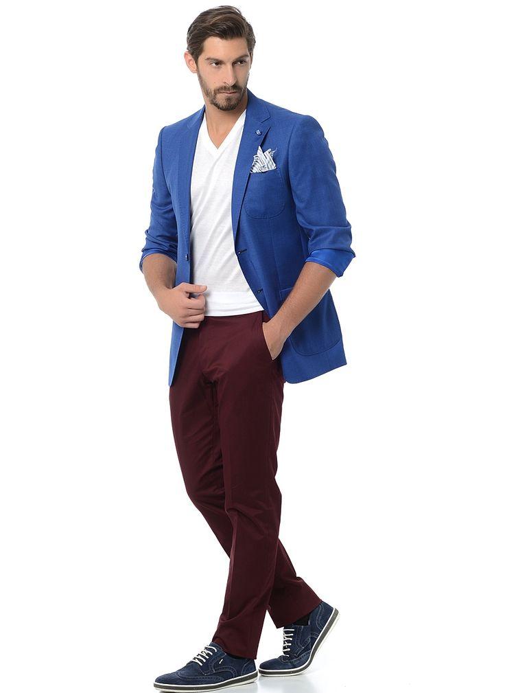 Бордовые брюки (casual)