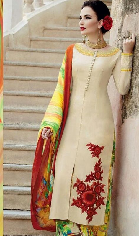 Add colors to your wardrobe by choosing this cream color printed cotton satin palazzo suit. This gorgeous dress is displaying some superb embroidery done with resham work. #StunningLookBeigeStraightCutDress