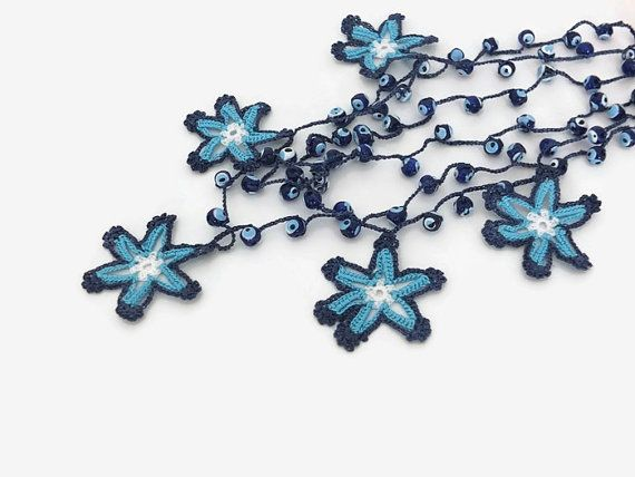 Blue Star Necklace Crochet Star Beaded Necklace with by Nakkashe