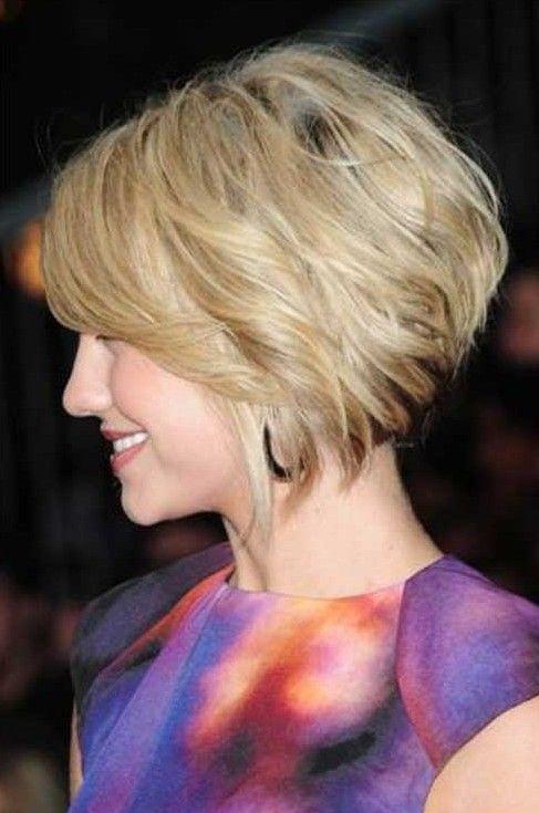 Layered Bob Haircut - Side View of Short Angled Wavy Bob Hairstyle