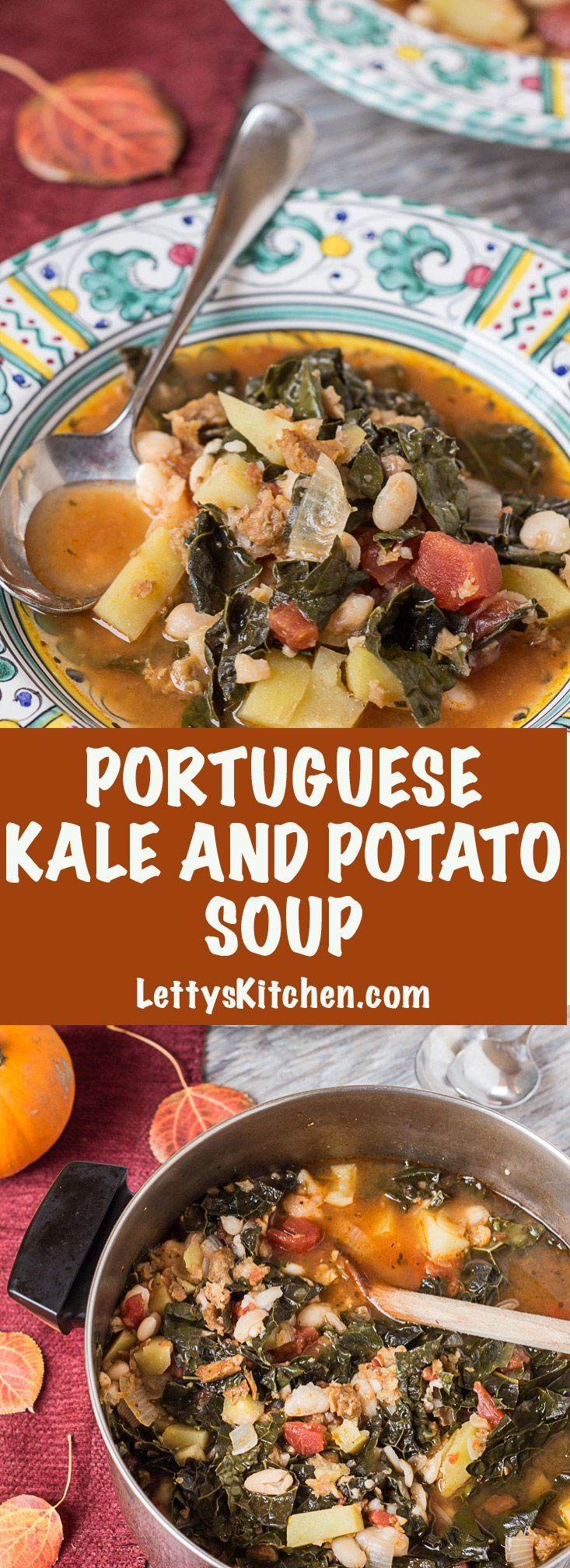 """Warming vegan recipe for Portuguese Kale and Potato Soup, with white beans and faux """"sausage"""" is THE best. [from LettysKitchen.com]"""