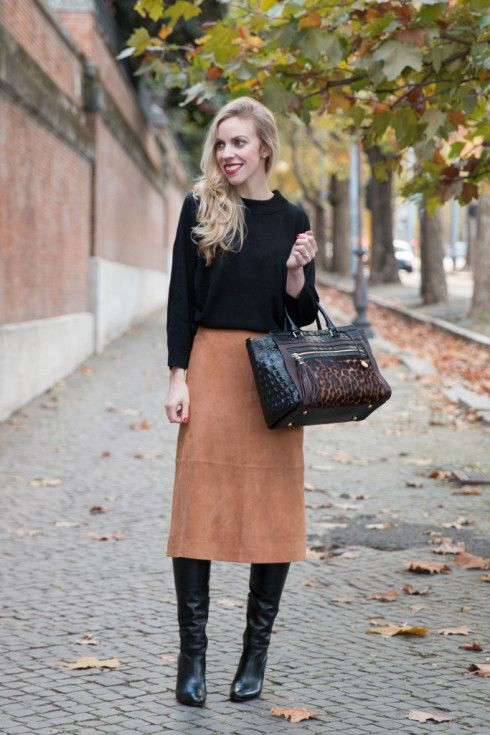 Ann Taylor suede skirt, how to wear suede midi skirt, midi skirt with knee high boots, Brahmin leopard print handbag, camel suede skirt outfit
