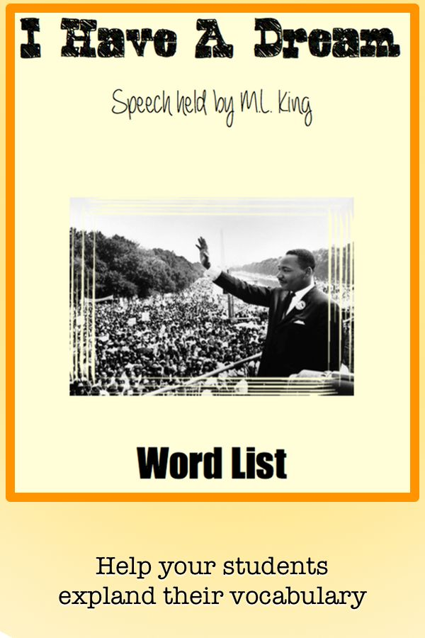 Word List #vocabulary #tpt #martin #luther #king #us #history #people #civil #rights