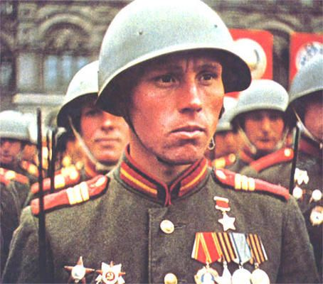 Red Army soldier at the Victory Parade of June 24, 1945