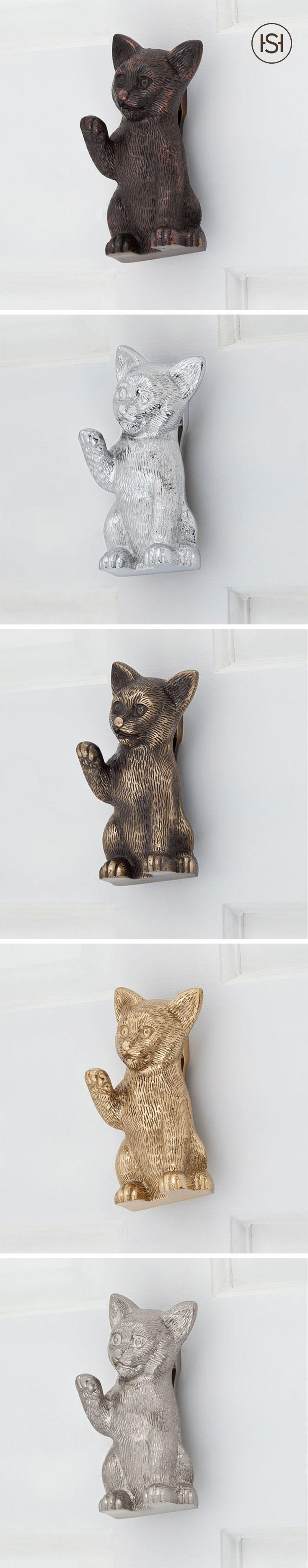 Provide a warm welcome to your guests with the Friendly Cat Brass Door Knocker.