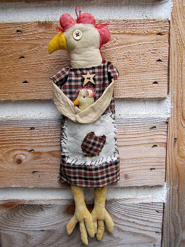 Chicken - Primitive Chicken - Folk Art Chicken - Handmade Chicken Art Doll - Lois Leghorn. $19.95, via Etsy.