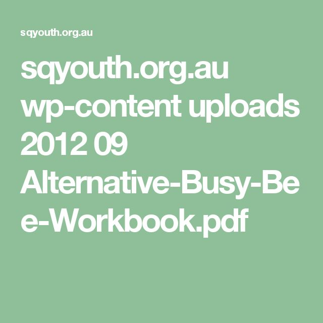 sqyouth.org.au wp-content uploads 2012 09 Alternative-Busy-Bee-Workbook.pdf