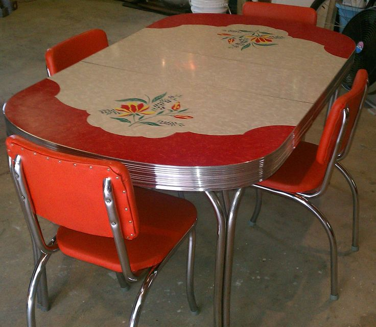 Love this table!  Vintage Kitchen Formica Table 4 Chairs Chrome Orange Red White/Gray Retro Eames