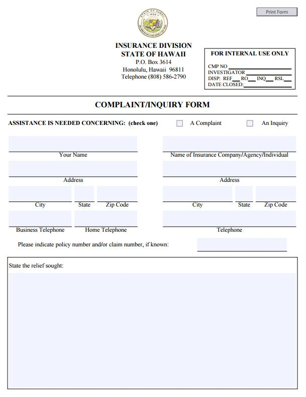Best Commissioners Complaint Form By State Images On