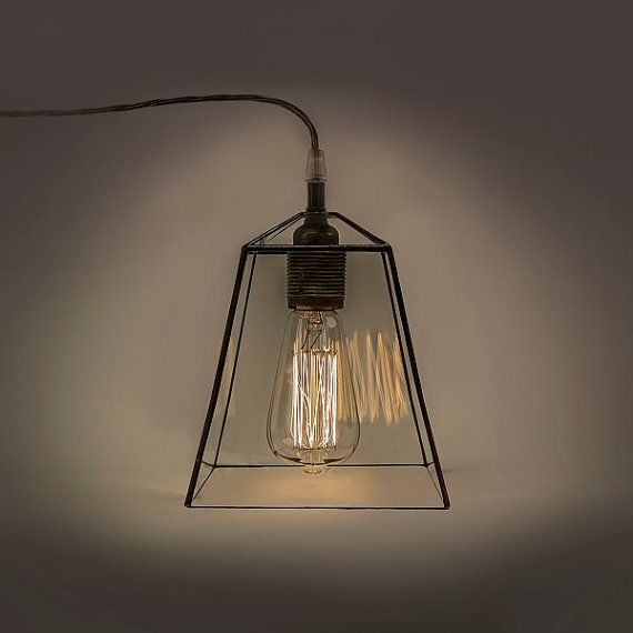 Industrial terrarium lamp. Clear glass simple lamp. by WPworkshop