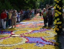 Flower carpets in Spycimierz. Visit Spycimierz near the spa resort Uniejów during Corpus Christi.