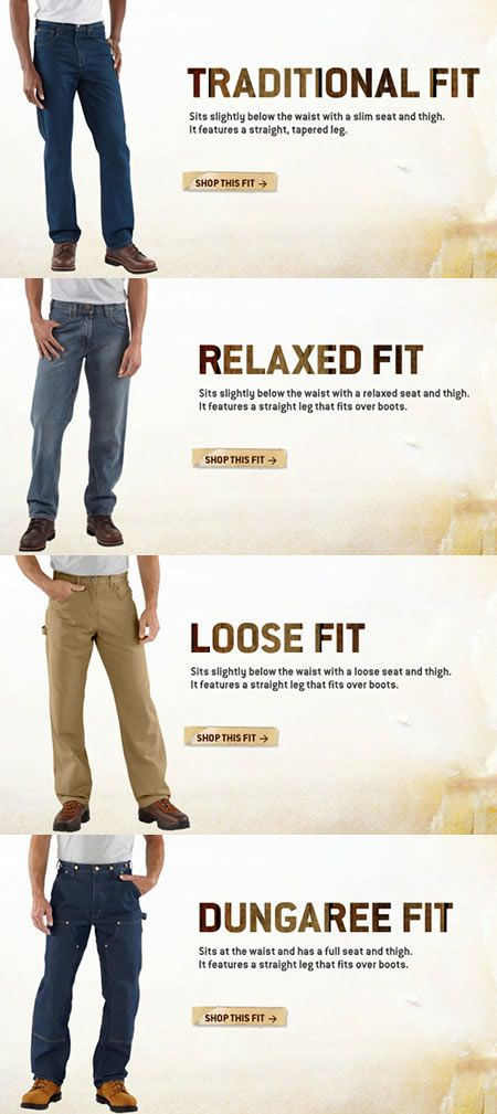 Carhartt Mens Jeans And Pants Size Chart