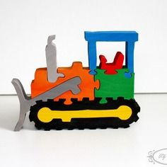 Puzzle en bois, bulldozer,voiture, chantier, construction, jouet enfant