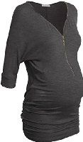 Women's Zip Up V Neck 3/4 Sleeve Lightweight Ruched Casual Maternity Tunic Top