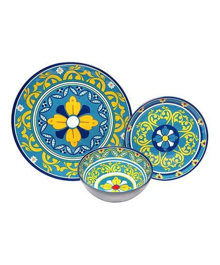These dishes transport you to the gardens of Italy as you dine with Mediterranean-inspired designs that bring eye-catching elegance to your table.  Includes four 11'' dinner plates, four 8.5'' salad plates and four 18-oz. pasta bowls Melamine Chip- and scratch-resistant and BPA-free Dishwasher-safe Imported  #melamine #plates #dinning #dinner #bowls aff link