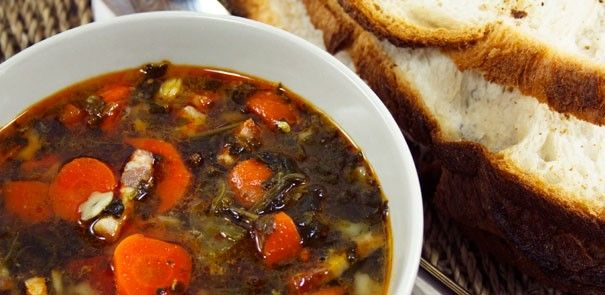 Get out of the cold and cozy up with our Roasted Vegetable Soup this season! This easy-to-make recipe serves two http://www.becel.ca/en/becel/HeartHealthyRecipes/Soups/Roasted-Vegetable-Soup.aspx