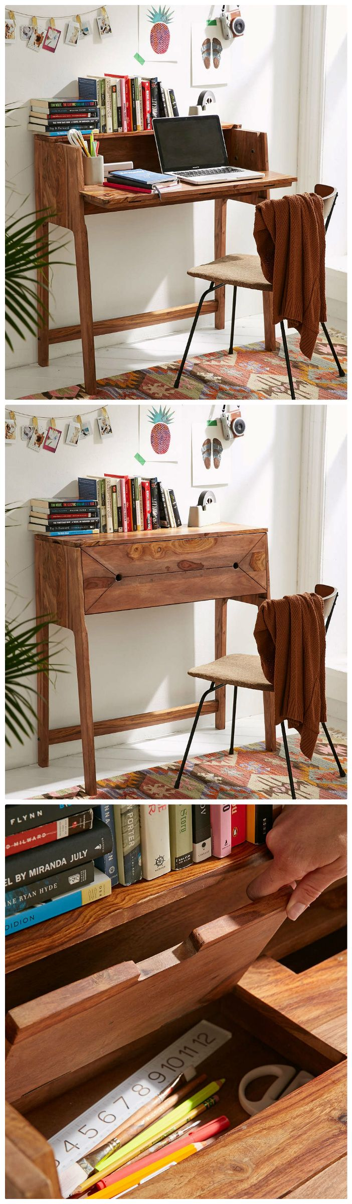 Best 25 small desk space ideas on pinterest white desk Bedroom office combo furniture