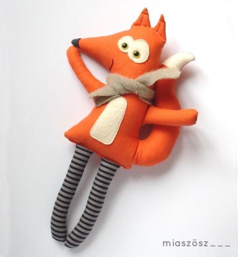 Miaszoszmuhely - Kalamajka, csíkos harisnyás róka, Játék, Baba-mama-gyerek, Plüssállat, rongyjáték, Játékfigura, #fox #toy