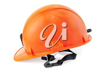 The orange helmet is isolated on a white background