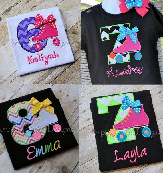 Custom roller skate birthday shirt by SimplieGirlieDesigns on Etsy