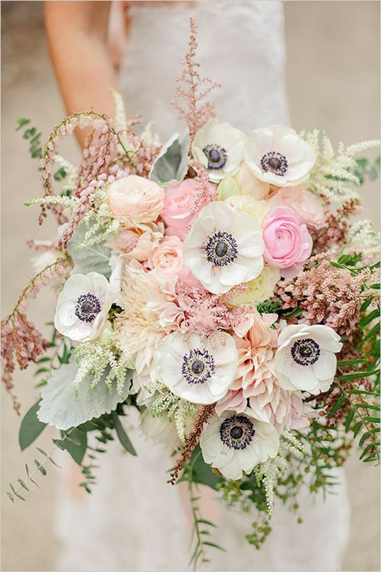 pastel cream and pink anemone wedding bouquet