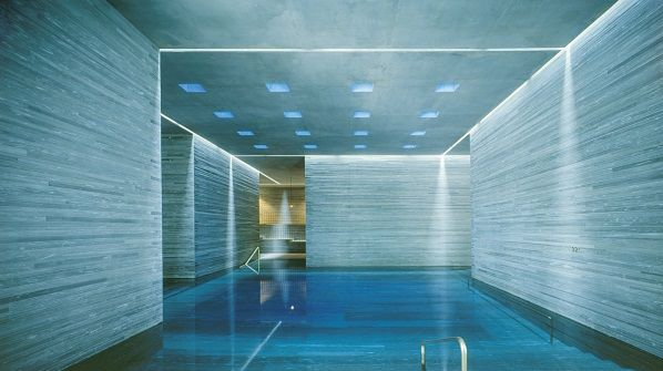 Futuristic Hotel With Pool In Room Interior With Blue ...