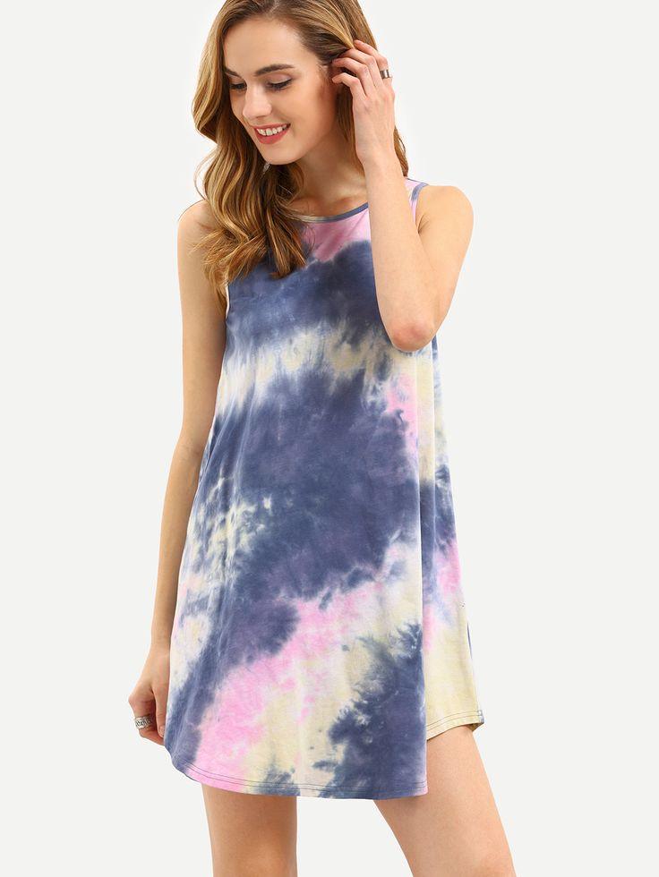 Vestido+estampados+sin+manga+holgado+-multicolor+9.60