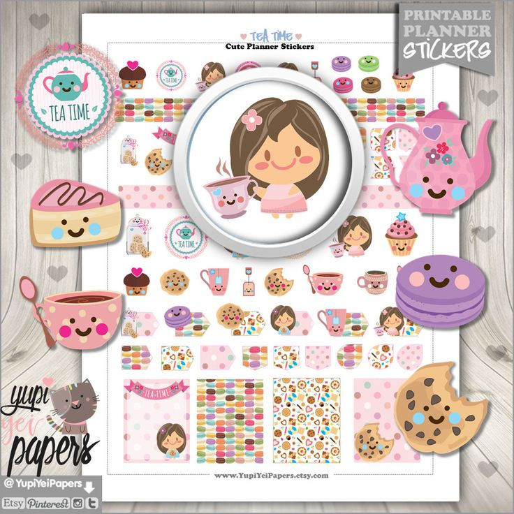 50%OFF - Tea Stickers, Planner Stickers, Printable Planner Stickers, Tea Party, Tea Time Stickers, Tea Time, Tea Cups, Teapot Stickers