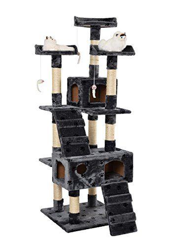 Lethzer Kratzbaum Katzenbaum Katzenkratzbaum mit H�hle Kletterleiter Liegeplattform Spielelemente 175cm hoch in Farbe Grau mit Pfotenabdruck