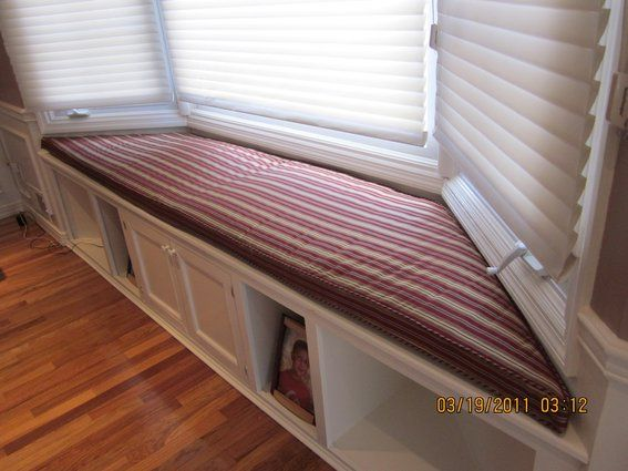 window seat storage bench cushion images | Hand Crafted Bay Window Seat Cushion With Matching Pillows by ...
